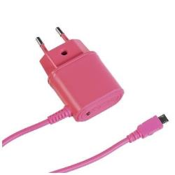 TRAVEL CHARGER 1A MICROUSB PINK