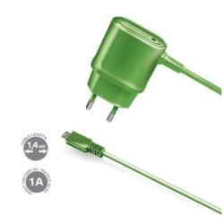 TRAVEL CHARGER 1A MICROUSB GREEN