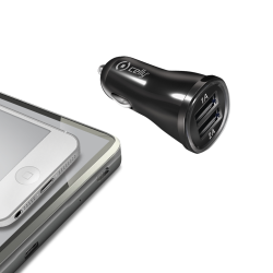 CAR CHARGER 2.1A WITH DOUBLE USB BK