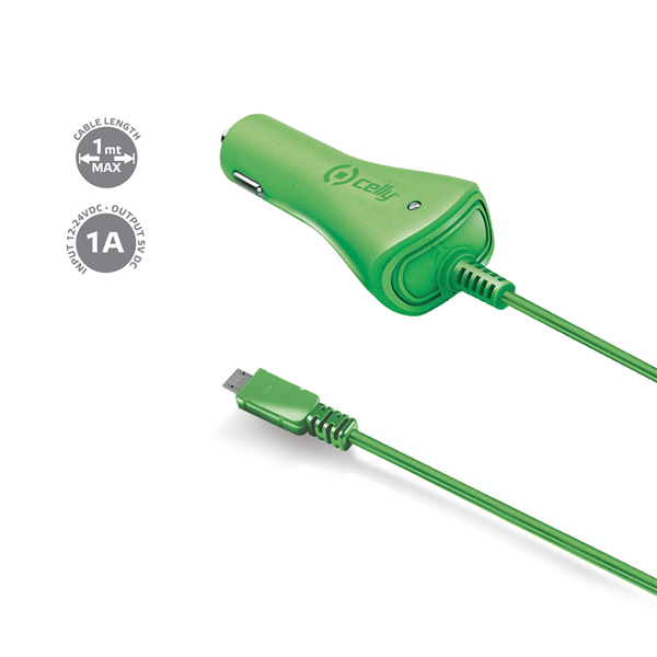 CAR CHARGER 1A MICROUSB GREEN