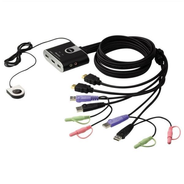 KVM cavo USB HDMI/audio a 2 porte con selettore porta remota